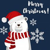 Christmas Holiday Season Background Of Cute Polar Bear With Santa Hat And Snowflakes Under Merry Chr poster