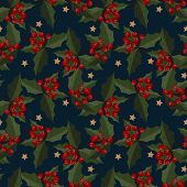 Christmas Elements Of Star With Holly Leaves And Berries Ornate Seamless Pattern For Greeting Cards, poster
