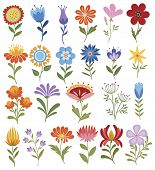 Set Of Stylized Flowers. Collection Of Decorative Flowers. Flower With Ornaments. Illustration For C poster