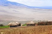 stock photo of mud-hut  - Masai village Tanzania - JPG