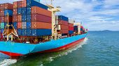 Container Ship Working At Industrial Port, Business Import And Export Logistic And Transportation Of poster