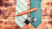 Matching Necktie With Outfit. Pick Necktie. Different Blue Color Necktie. Menswear Clothes And Acces poster