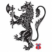 A Medieval Heraldic Coat Of Arms, Heraldic Lion, Heraldic Lion Silhouette, Crowned Lion Holding An A poster