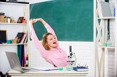 School Pedagogue Occupation. Mental Health And Relaxation Methods. Stretching After Hard Working Day poster