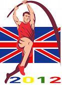Постер, плакат: Игры 2012 Ваулт полюс легкая атлетика британский флаг