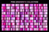 Pink Glossy Gradient, Metal Foil Texture. Color Swatch Set. Collection Of High Quality Vector Gradie poster