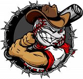 stock photo of vaquero  - Baseball Face Cartoon of a Cowboy Vector Illustration - JPG