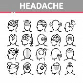 Headache Collection Elements Vector Icons Set Thin Line. Tension And Cluster Headache, Migraine And  poster