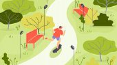 Vector Illustration Jogging In Park Cartoon Flat. Activity Guy In Sportswear Is Jogging Among Trees. poster
