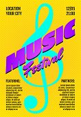 Music Live Festival Show Poster Or Invitation Flyer Cover Design Template. Treble Clef On Yellow Bac poster