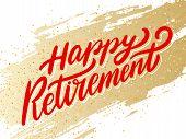 Happy Retirement Banner. Vector Hand Drawn Illustration. poster