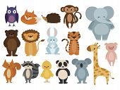 Set Of Animals. Collection Of Cartoon Animals. Residents Of The Forest And The Jungle. Vector Illust poster