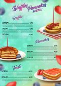 Banner Menu Waffles Pancakes And Toasts Realistic. Vertical Menu With Dishes Summer Cuisine And Pric poster