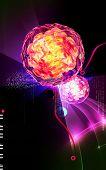image of polio  - Digital illustration of  Polio virus in colour  background - JPG
