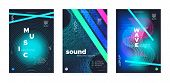 Light Electro Music. Electronic Sound Background. Vibrant Dj Beats. Wave Stripes. Vibrant Music Bann poster
