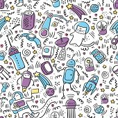 Seamless Pattern Space Doodle Color. Robot And Technic Doodles. Future Concept With Astronaut, Plane poster