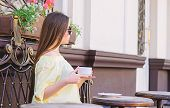 Girl Enjoy Morning Coffee. Waiting For Date. Woman In Sunglasses Drink Coffee Outdoors. Girl Relax I poster