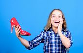 Buy By Phone. Shoe Maker Service. Happy Childhood. Small Girl With Stylish Shoes. Happy Child Hold F poster