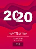 Abstract Happy New Year 2020 Card On Wave Background With Copy Space. Minimal Banner With 2020 Numbe poster