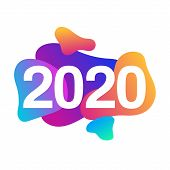 Colorful 2020 Happy New Year Card With Gradient Geometric Shapes. Abstract Banner With 2020 Logo On  poster