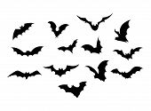 Set Bats. Collection Of Bats. Flying Bats. Halloween. Set Of Black Silhouettes. Cartoon Bats. Line A poster