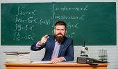 Get Out Of Class. Teacher Strict Serious Bearded Man Chalkboard Background. Teacher Looks Threatenin poster