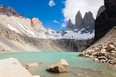 Torres Del Paine Peaks View, Chile.  Base Las Torres Viewpoint. Chilean Patagonia Landscape. poster
