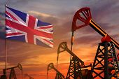United Kingdom (uk) Oil Industry Concept, Industrial Illustration. United Kingdom (uk) Flag And Oil  poster
