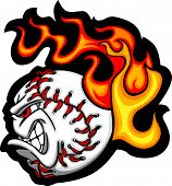 image of fastpitch  - Cartoon Vector Image of a Flaming Softball with Angry Face - JPG