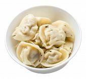 Dumplings On A White Plate Isolated On White Background .boiled Dumplings.meat Dumplings Top Side Vi poster
