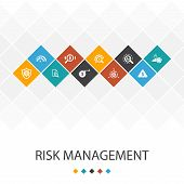 Risk Management Trendy Ui Template Infographics Concept. Control, Identify, Level Of Risk poster