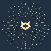 Beige Veterinary Clinic Symbol Icon Isolated On Dark Blue Background. Cross With Cat Veterinary Care poster