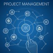 Project Management Concept, Blue Background.project Presentation, Meeting, Workflow, Risk Management poster