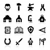 stock photo of anvil  - Blacksmith icons set  - JPG
