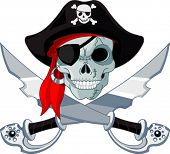 picture of skull cross bones  - Pirate Skull and crossed sables - JPG