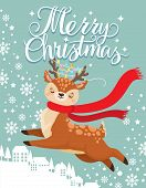 Greeting Card With Xmas Deer. Merry Christmas Postcard, Cute Fawn And Winter Holidays. New 2020 Year poster