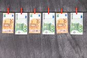 Euro Banknotes. 50 Euro Euro Money. Money Finance Earning Sector Concept. Cash Money On Wooden Backg poster