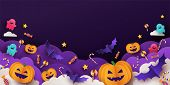 Halloween Background For Party Invitation, Greeting Card, Web Banner Or Sales With Candies In Night  poster