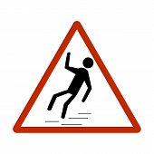 Slippery Sidewalk. Sign Danger On Ice Roadand Wet Sidewalk. Warning Of Danger During Rain And Sleet, poster