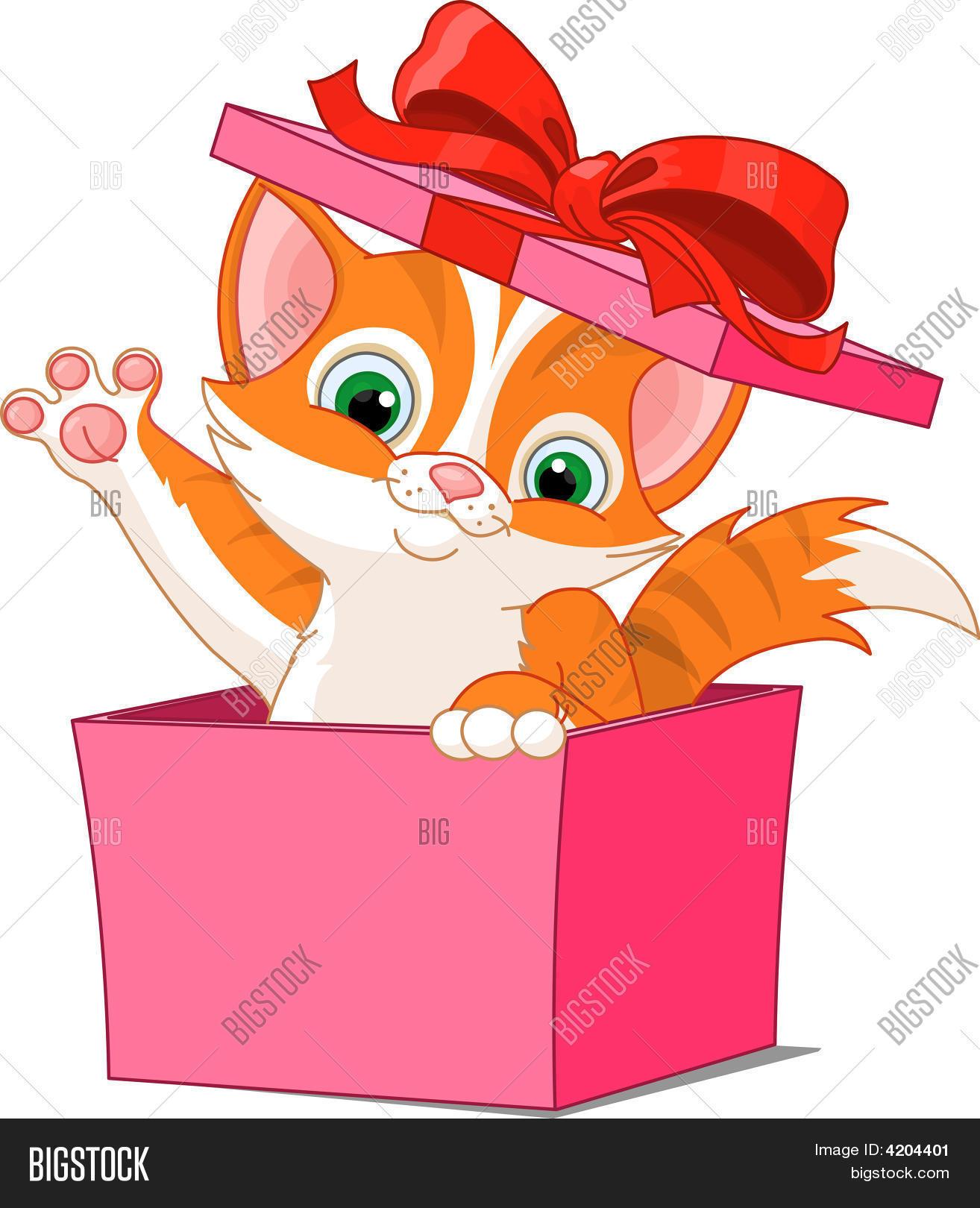 Рисунок котенок с подарком