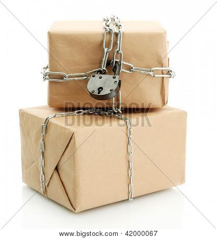 parcels with chains, isolated on white