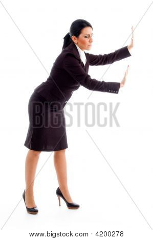 Accountant Showing Stopping Gesture