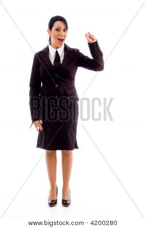 Standing Accountant Showing Counting Hand Gesture