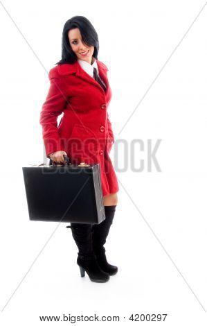 Caucasian Model Holding Leather Bag