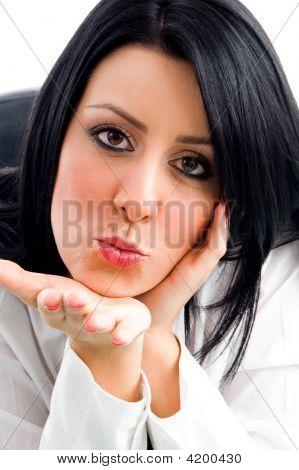 Woman Giving Flying Kiss
