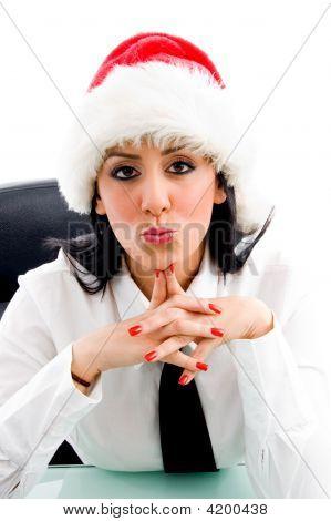 Christmas Woman Giving Kiss