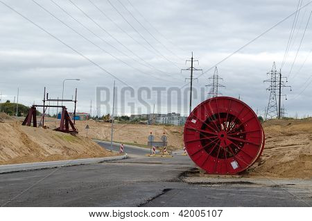 High Voltage Cable Reels Road Construction