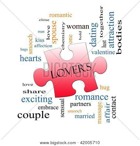 Lovers Puzzle Piece Word Cloud Concept