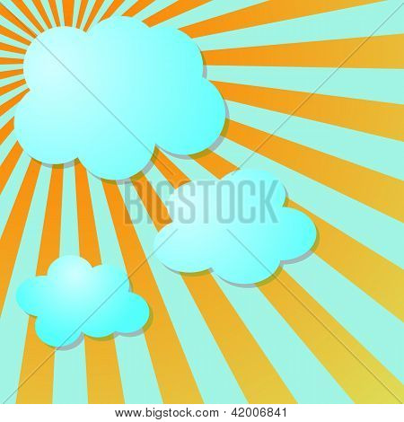 Summer Blus Sky With Sun Radial Rays And Clouds