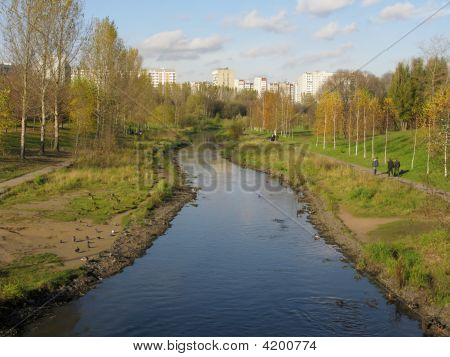 Autumn Landscape With Yauza-River In Foreground, Moscow